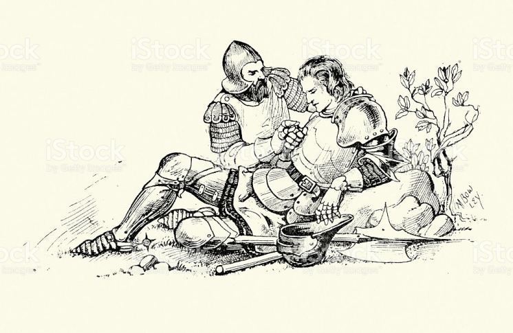 Vintage victorian engraving of a wouned knight being helped by one of his comrades.